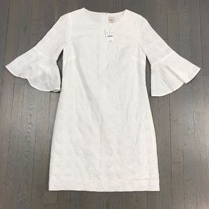 NWT J.Crew Factory White Eyelet Bell Sleeve Dress